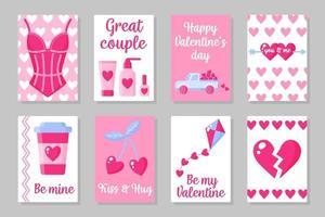 conjunto de cartões de cor rosa, branco e azul para o dia dos namorados ou casamento. design plano de vetor isolado em fundo cinza