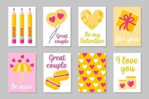 conjunto de cartões coloridos rosa, brancos e amarelos para o dia dos namorados ou casamento. vetor design plano isolado