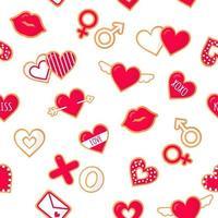 sem costura padrão com biscoitos de gengibre com letras de amor para o dia dos namorados. vetor