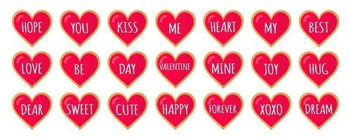conjunto de corações de gengibre com letras de amor para o dia dos namorados. vector design de ícone plana isolado no fundo branco.