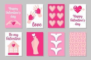 conjunto de cartões de cor rosa, brancos e vermelhos para o dia dos namorados ou casamento. design plano de vetor isolado em fundo cinza