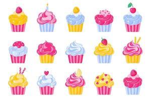 conjunto de diferentes tipos e cores de cupcakes ou muffins com creme. vetor