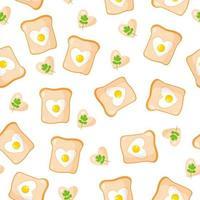 padrão sem emenda com torradas e ovos fritos em forma de um coração, café da manhã para o dia dos namorados. vetor