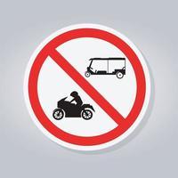 não tuk tuk tailândia ou riquixá triciclo de três rodas, motocicletas, sinal de trânsito vetor