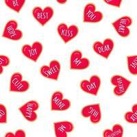 padrão sem emenda de corações de gengibre com letras para o dia dos namorados. design plano de vetor em fundo branco.