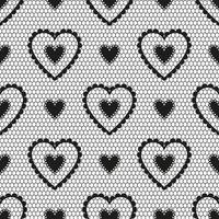 padrão sem emenda de renda preta com corações para um casamento ou dia dos namorados. vetor