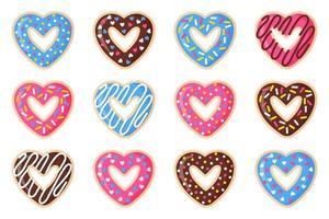 conjunto de donuts em forma de coração de dia dos namorados, com cobertura rosa, azul e chocolate. vetor