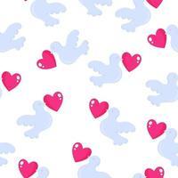 padrão sem emenda de pombos com coração para o casamento ou dia dos namorados. vetor