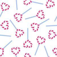 padrão sem emenda de pirulito de coração listrado para o casamento ou dia dos namorados. vetor