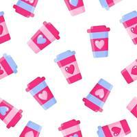 padrão sem emenda de caneca de café com coração para o casamento ou dia dos namorados. vetor
