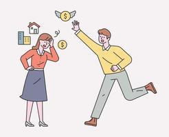 aqueles que perderam seus bens. imóveis e dinheiro estão voando. ilustração em vetor mínimo estilo design plano.