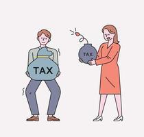 um homem está segurando uma grande sacola de impostos. uma mulher está segurando uma bomba fiscal na mão. ilustração em vetor mínimo estilo design plano.