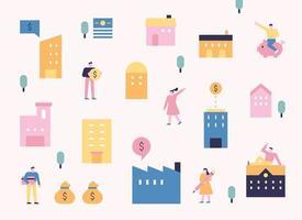 edifício e pessoas padrão pôster em cor rosa pastel. ícones de pessoas à procura de preços imobiliários e ativos de investimento. ilustração em vetor mínimo estilo design plano.
