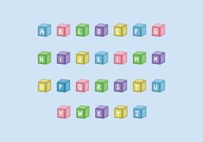 Cubos de crianças com letras vetor
