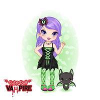 Boneca fofa vampira chibi vetor