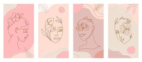 mulheres lineares rosto e flores em uma linha de conjunto de vetor de logotipo de estilo orgânico