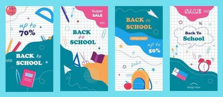 de volta ao modelo de histórias da escola para mídia social, aplicativos, impressão. folhetos de venda ajustados com um abstrato moderno, plano de fundo de papel de caderno e itens escolares. vetor