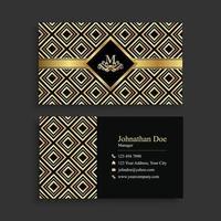 modelo de cartão de visita geométrico dourado elegante vetor