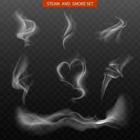 conjunto realista de fumaça de vapor vetor