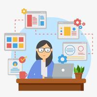 Vetor de ilustração de desenvolvedor Web feminino