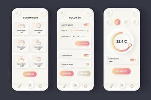 kit de design de aplicativo móvel neomórfico exclusivo para casa inteligente vetor