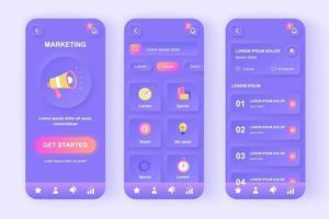 kit de design de aplicativo móvel neomórfico exclusivo de marketing digital vetor