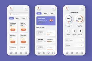 kit de design de aplicativo móvel neomórfico exclusivo de plataforma de aprendizagem on-line vetor