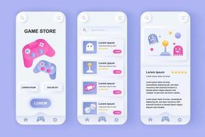 kit de design de aplicativo móvel neomórfico exclusivo para loja de jogos vetor