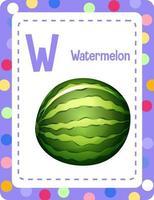 cartão do alfabeto com a letra w para melancia vetor