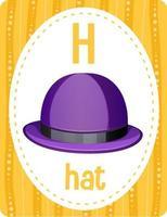 cartão do alfabeto com a letra h para o chapéu vetor