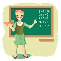 Professor na Blackboard explica a matemática das crianças vetor