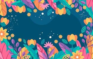 lindo fundo colorido de flores e folhagens vetor