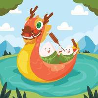 fundo zongzi de barco dragão vetor
