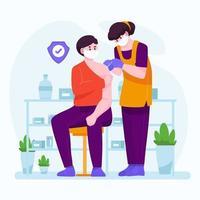 vacinação para o conceito de proteção de saúde médica vetor