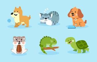 coleção de diferentes animais de estimação vetor