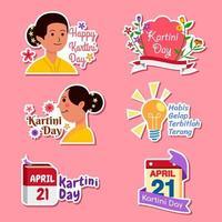 conjunto de adesivos de celebração do dia de kartini vetor