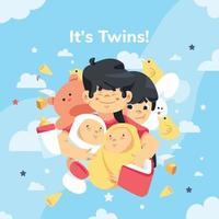 é o conceito de design da celebração dos gêmeos vetor