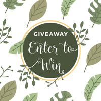 Plano Tropical Floral Instagram Concurso Giveaway Template Vector Background