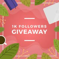 Plano Floral e coisas Instagram Concurso Giveaway Template Vector Background