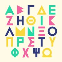 Alfabeto grego no conjunto de fontes de cartas estilo Memphis vetor