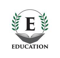 logotipo da educação com design de livro e folha vetor