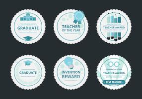 Conjunto de adesivos de recompensa de professor, distintivo e conjunto de emblema vetor