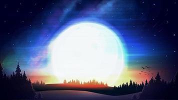 paisagem de noite com grande sol no céu estrelado, meteoros e floresta ine no horizonte. vetor