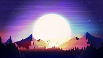 pôr do sol laranja, área montanhosa, floresta de abetos, céu estrelado colorido e montanhas no horizonte. vetor