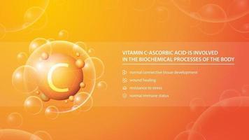 vitamina C, pôster de informações laranja com cápsula dourada da medicina abstrata e lista de benefícios para a saúde vetor