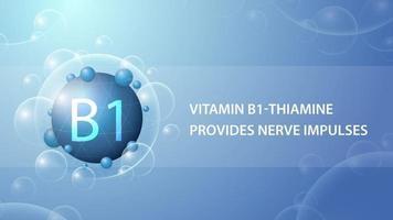 vitamina b1, cartaz de informações azul com cápsula de medicamento abstrato vetor