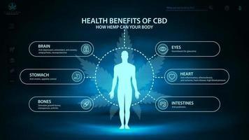 benefícios cbd de cânhamo para o seu corpo, arca e pôster digital azul com cena de néon escuro, infográfico e silhueta do corpo humano. benefícios para a saúde do canabidiol cbd de cannabis, cânhamo, maconha vetor
