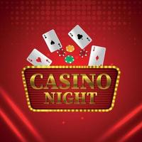 efeito de texto dourado do jogo de azar de cassino com cartas de jogar com fichas de pôquer vetor