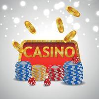 Jogo de luxo VIP de cassino com fichas de cassino e moedas de ouro vetor