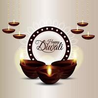 feliz festival de diwali com celebração de velas vetor
